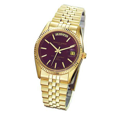 Mens Charles Hubert 14k Gold-plated Burgundy Dial Watch No. 3400-OH