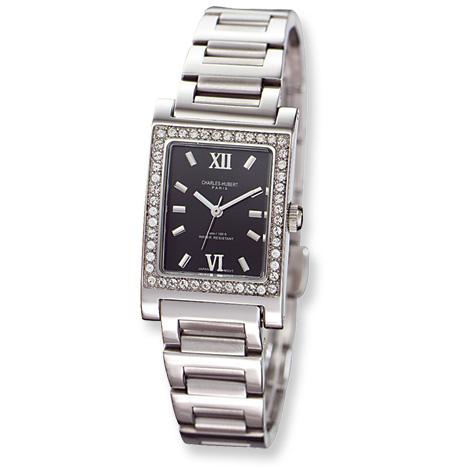 Ladies Charles Hubert Stainless Steel Black Dial Watch No. 6667-B/M
