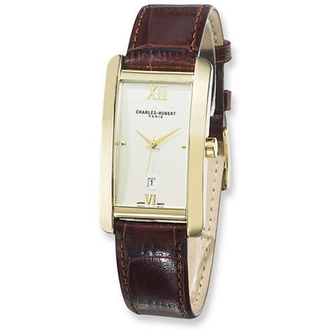 Mens Charles Hubert Leather Band Dial Watch No. 3670-G