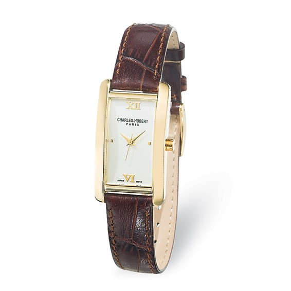 Ladies Charles Hubert Leather Band Dial Watch No. 6670-G