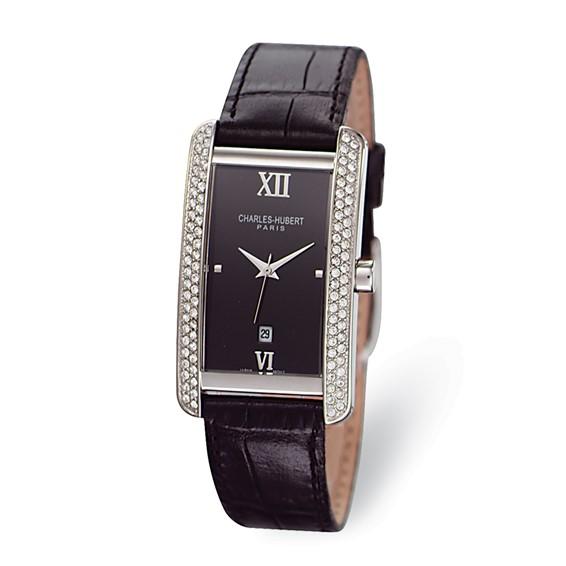 Mens Charles Hubert Leather Band Black Dial Watch No. 3669-B/B