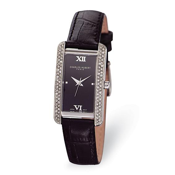 Ladies Charles Hubert Leather Band Black Dial Watch No. 6669-B/B