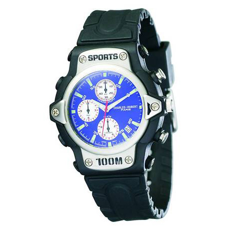 Mens Charles Hubert Rubber Band Blue White Dial Sport Chrono Watch No. 3525-E