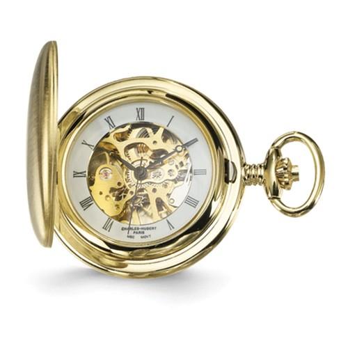 Charles Hubert Satin Mechanical Pocket Watch Roman Numerals #3906-G
