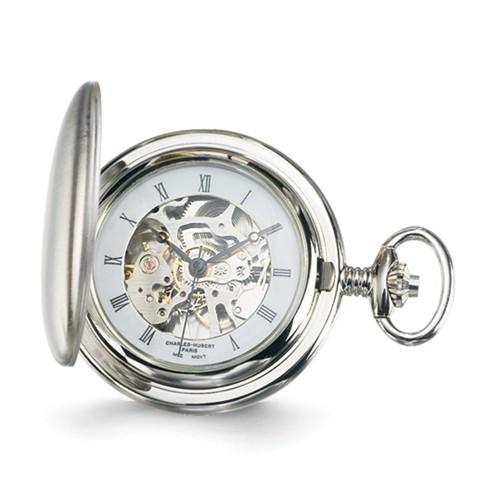 Charles Hubert Satin Mechanical Pocket Watch Roman Numerals #3906-W