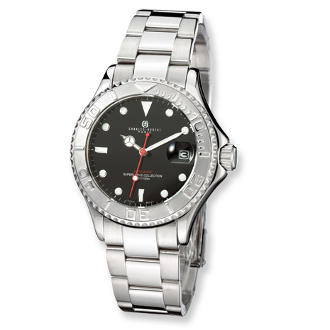 Mens Charles Hubert Stainless Steel Black Dial Automatic Watch