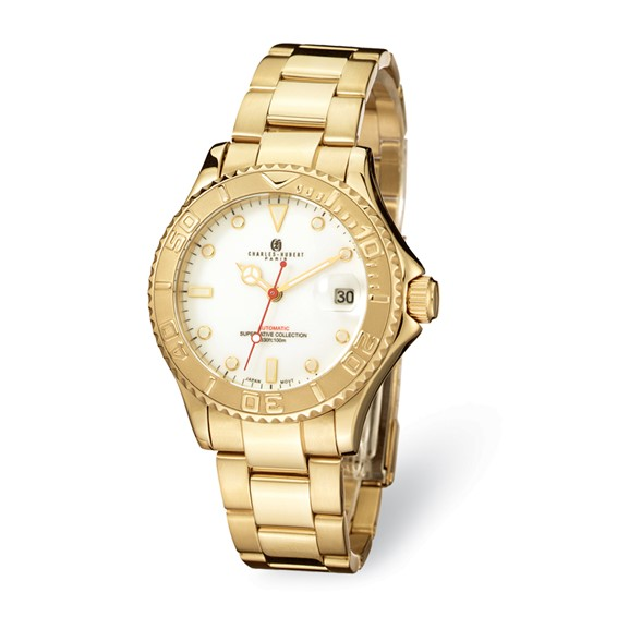 Mens Charles Hubert Gold-plated Stainless Steel White Dial Auto Watch
