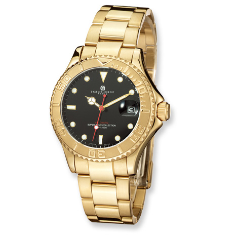 Mens Charles Hubert Gold-plated Stainless Steel Black Dial Watch