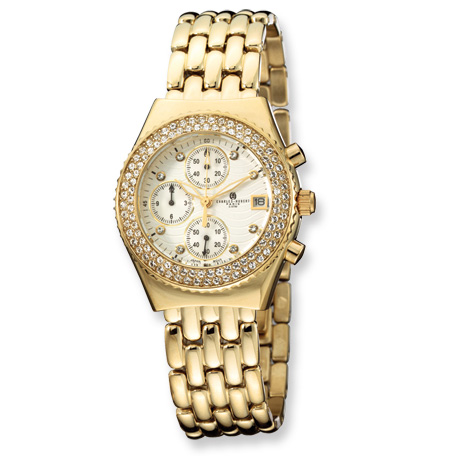 Ladies Charles Hubert Gold-plated Stainless Steel Crystal Watch