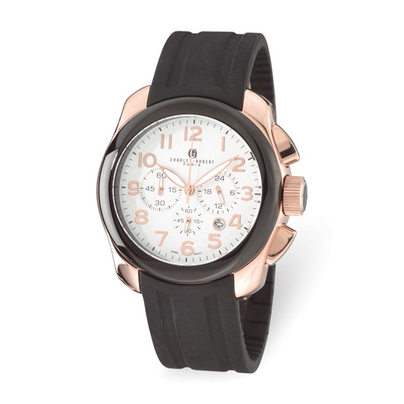 Mens Charles Hubert Rose Gold-plated Stainless Chrono Watch
