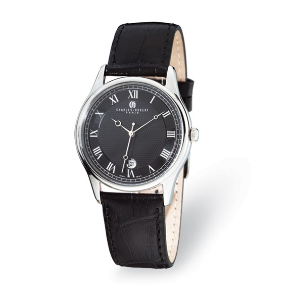Ladies Charles Hubert Stainless Steel Leather Band Watch