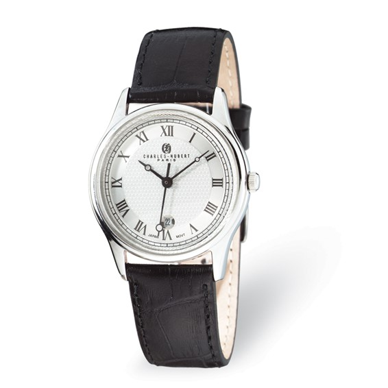 Mens Charles Hubert Stainless Steel Leather Band Watch