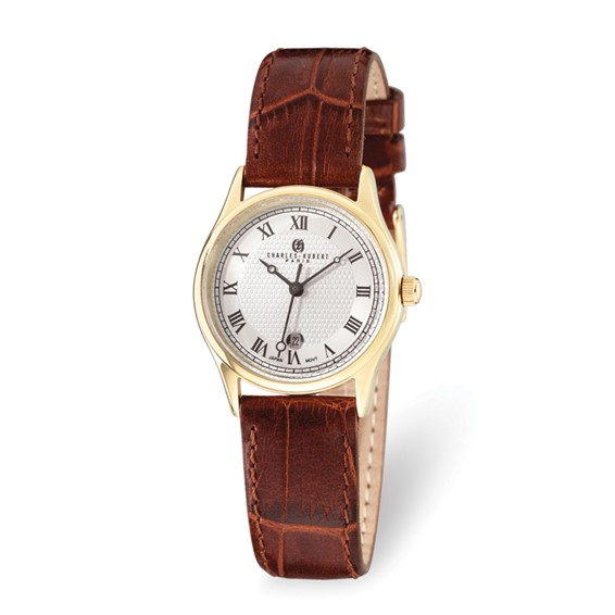 Ladies Charles Hubert Gold-plated Stainless Steel Leather Band Watch