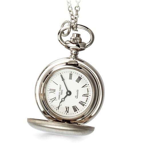 Ladies Charles Hubert Satin Chrome Finish Brass Pendant Watch