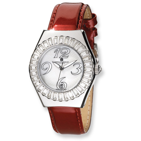 Mens Charles Hubert Red Leather Stainless Steel Watch