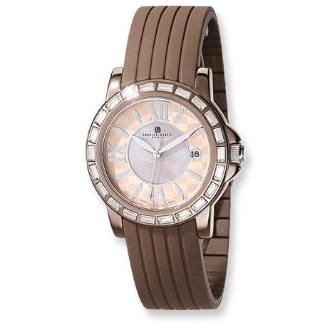 Mens Charles Hubert Bronze Finish Stainless Crystal Bezel Watch