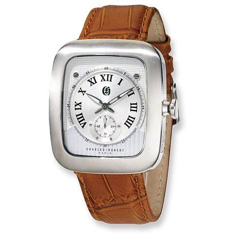 Mens Charles Hubert Brown Leather Stainless Steel Watch