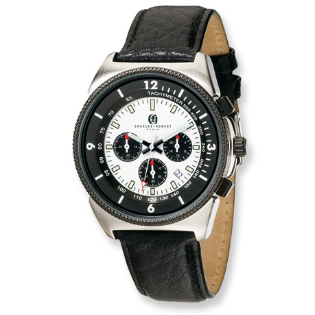 Mens Charles Hubert Black Leather Band Chronograph Watch