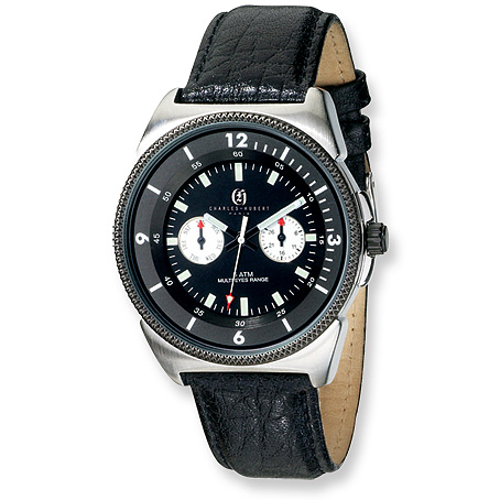 Mens Charles Hubert Black Leather Stainless Steel Watch