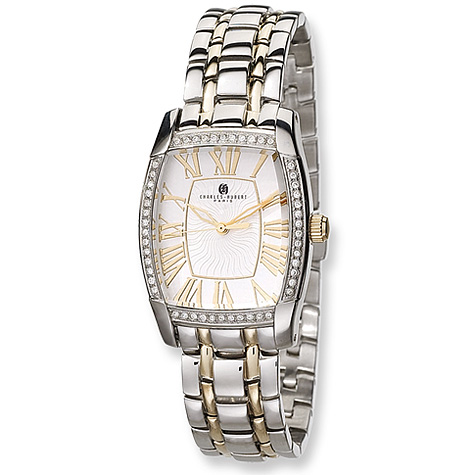 Mens Charles Hubert Two-tone Stainless Steel White Dial Watch