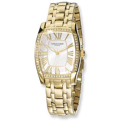 Mens Charles Hubert Gold-plated Stainless Steel Silver Dial Watch