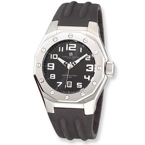 Mens Charles Hubert Stainless Steel Black Dial Watch