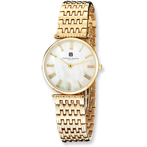 Mens Charles Hubert Polished Gold-plated Stainless Steel Watch