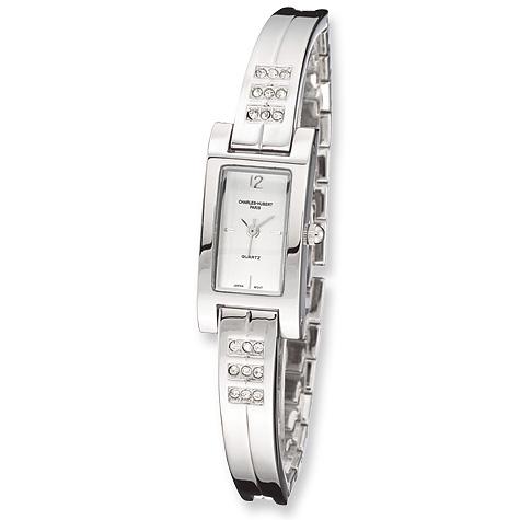 Ladies Charles Hubert Chrome Finish Brass Crystal Watch