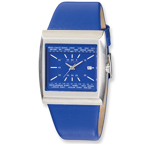 Mens Charles Hubert Stainless Steel Blue Leather Watch