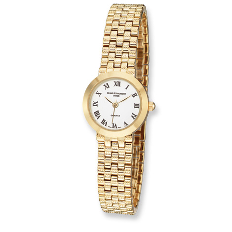Ladies Charles Hubert Satin Gold-plated Stainless Steel Watch