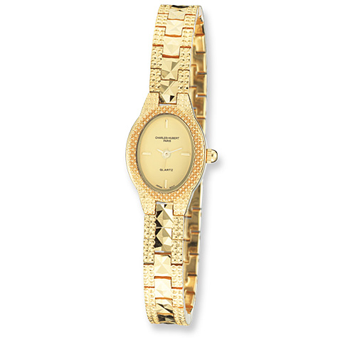 Ladies Charles Hubert Gold-plated Brass Gold Dial Watch