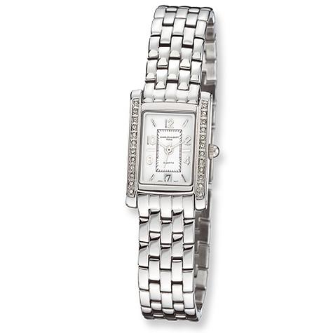 Ladies Charles Hubert Chrome Finish Brass Swarovski Crystal Watch