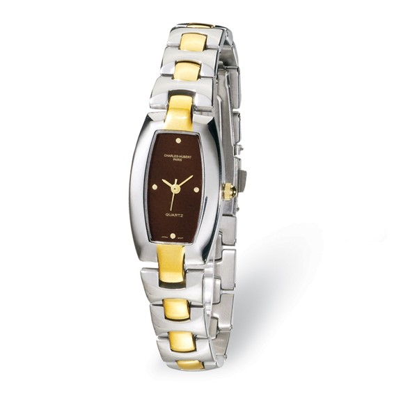 Ladies Charles Hubert Two-tone Stainless Steel Black Dial Watch