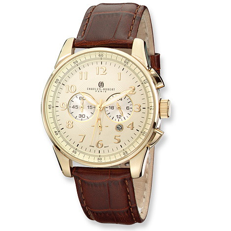Mens Charles Hubert Gold-plated Leather Band Chrono Watch