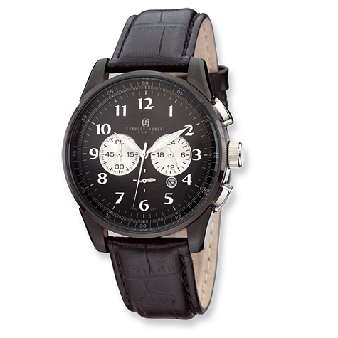 Mens Charles Hubert Black Finish Leather Band Chrono Watch