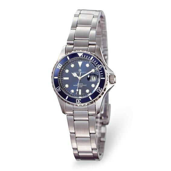 Ladies Charles Hubert Stainless Steel Blue Dial Diver Watch