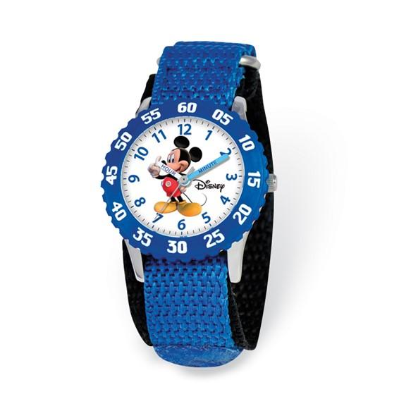 Disney Kids Mickey Mouse Time Teacher Watch Blue Velcro Band