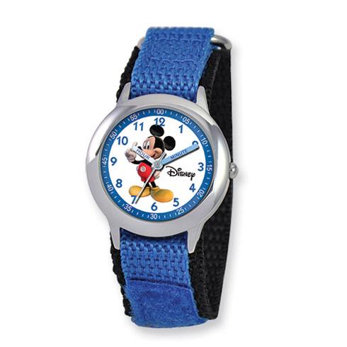 Disney Kids Mickey Mouse Blue Velcro Band Time Teacher Watch