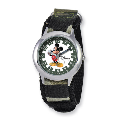 Disney Kids Mickey Mouse Camo Velcro Band Time Teacher Watch