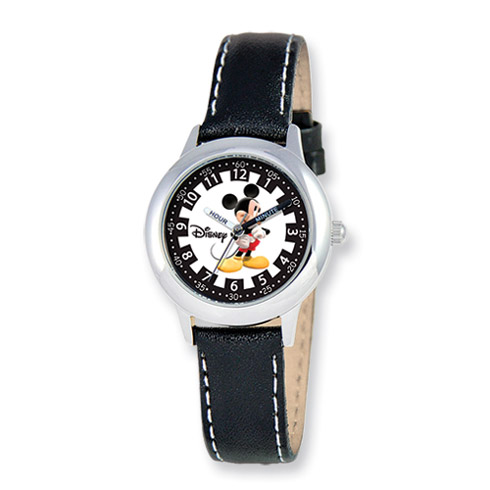 Disney Kids Mickey Mouse Black Leather Band Time Teacher Watch