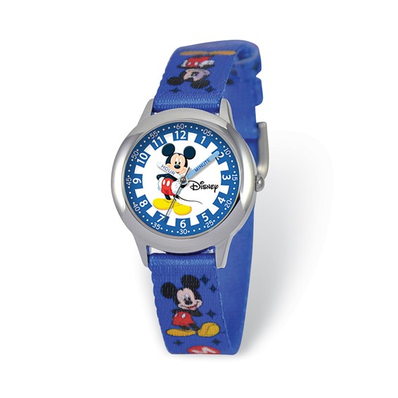 Kids Mickey Mouse Blue Fabric Band Time Teacher Watch