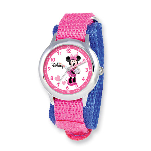 Disney Kids Minnie Mouse Pink Black Velcro Band Time Teacher Watch