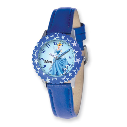 Disney Princess Kids Cinderella Blue Leather Band Time Teacher Watch