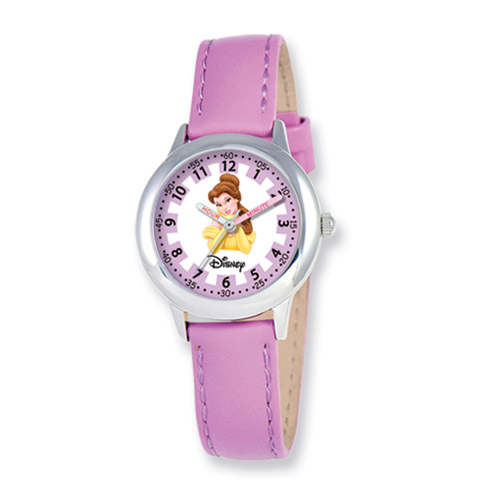 Disney Princess Belle Purple Leather Band Time Teacher Watch