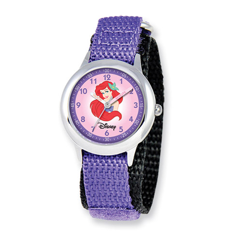 Disney Princess Kids Ariel Purple Velcro Band Time Teacher Watch