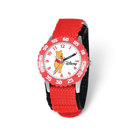 Disney Pooh and Friends Winnie Red Velcro Band Time Teacher Watch