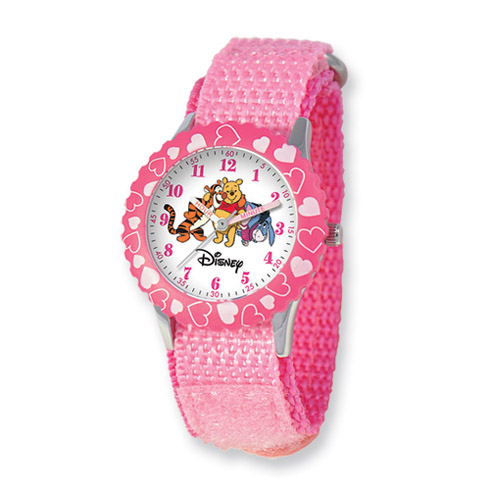 Disney Pooh and Friends Kids Pink Velcro Band Time Teacher Watch