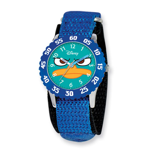 Disney Phineas and Ferb Kids Perry Blue Velcro Band Time Teacher Watch