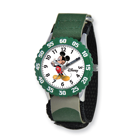 Kids Mickey Mouse Camo Velcro Band Time Teacher Watch