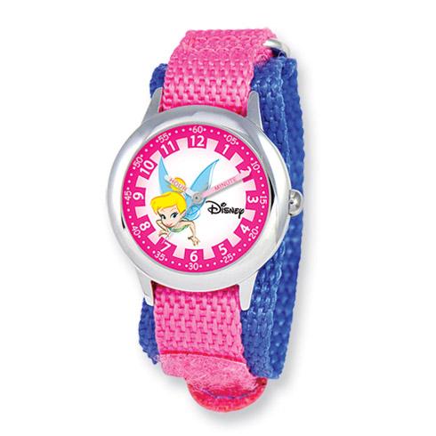Disney Tinker Bell Dreamland Pink Velcro Band Time Teacher Watch